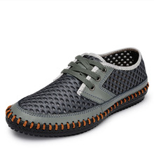 Genuine Leather Men Shoes Summer Sandals Breathable Soft Driving Men's Handmade chaussure homme Net Surface Loafers(China (Mainland))