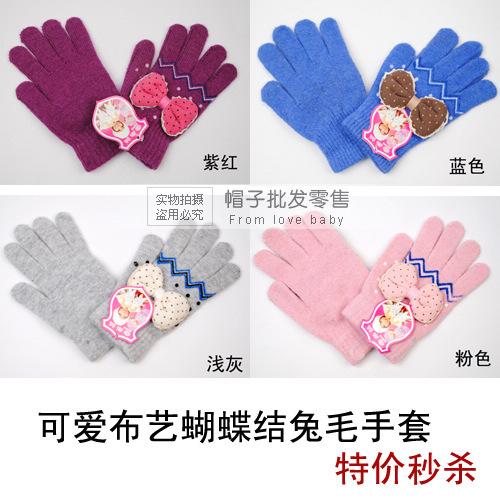 -9A9 Bow rabbit fur yarn gloves women's winter gloves children's mittens(China (Mainland))