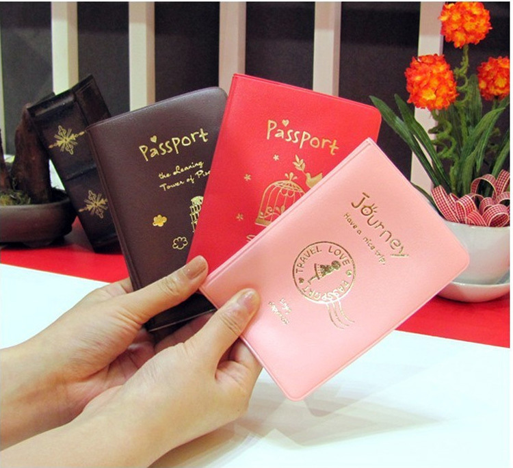 2015 New Simple Travel ID&Document Holder Utility Pu Leather Passport Cover 3Colors D40(China (Mainland))
