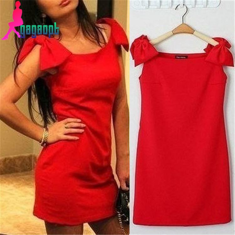 gagaopt new fashion red sleeveless shoulder knot bow sweet cute elegant women's one piece slim pencil shoulder bow dress(China (Mainland))