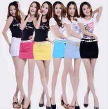 WomensDate 2016 Summer Girls Jeans Skirts Cotton Candy Color Mini Pencil Denim Hip Skirts Womens Plus Size Short Denim Skirt