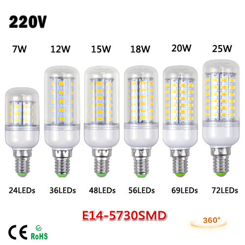 1Pcs 7W 12W 15W 18W 20W 25W SMD 5730 E14 lamp 220V Spotlight LED Corn Bulb Chandelier For Indoor lighting 24/36/48/56/69/72LEDs(China (Mainland))