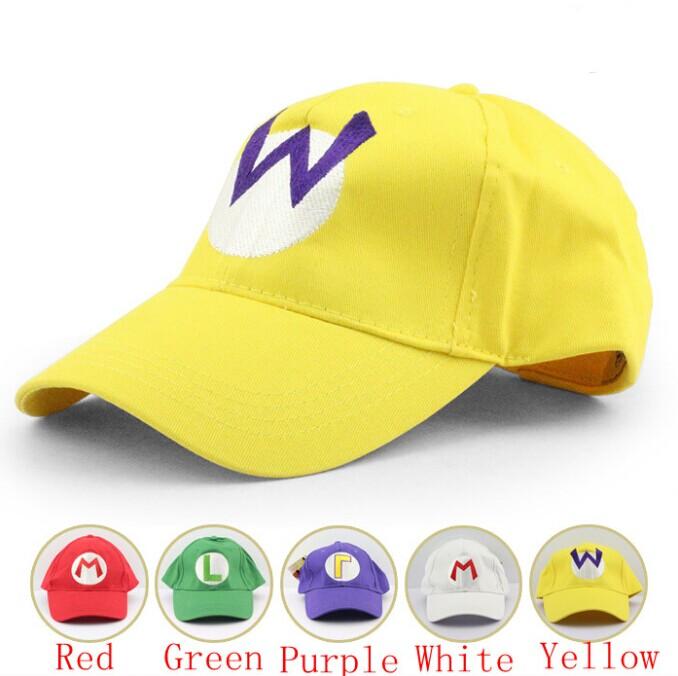 DHL 300pcs Super Mario Baseball HatS Caps Adjustable Mario Luigi Wario Waluigi Red Green 5 Colors Baseball Hat Kid Caps(China (Mainland))