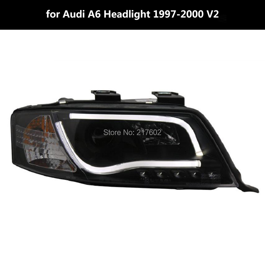 Tunning head lamps for Audi A6 headlights Dip Beam with projector lens 1997-2000 V2 led bar light type(China (Mainland))