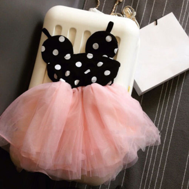 Baby Girls Cute Dots Summer Clothing Dresses Cute Minnie Mouse Dress Kids Toddler Ball Gown Tutu Dress Pink 1 2 3 4 5 6 Years(China (Mainland))
