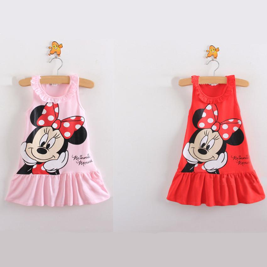 Promotion!!! Cartoon Minnie dress Children summer dress princess T-shirt sleeveless clothing(China (Mainland))