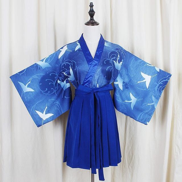Японское кимоно юката версия синий кран пиджаки топы + СинийPleated юбка 2 шт. женская ...