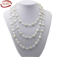 SNH 2015 Real Freshwater Pearl Necklace Long Natural genuine Pearl Necklace  for Woman(China (Mainland))