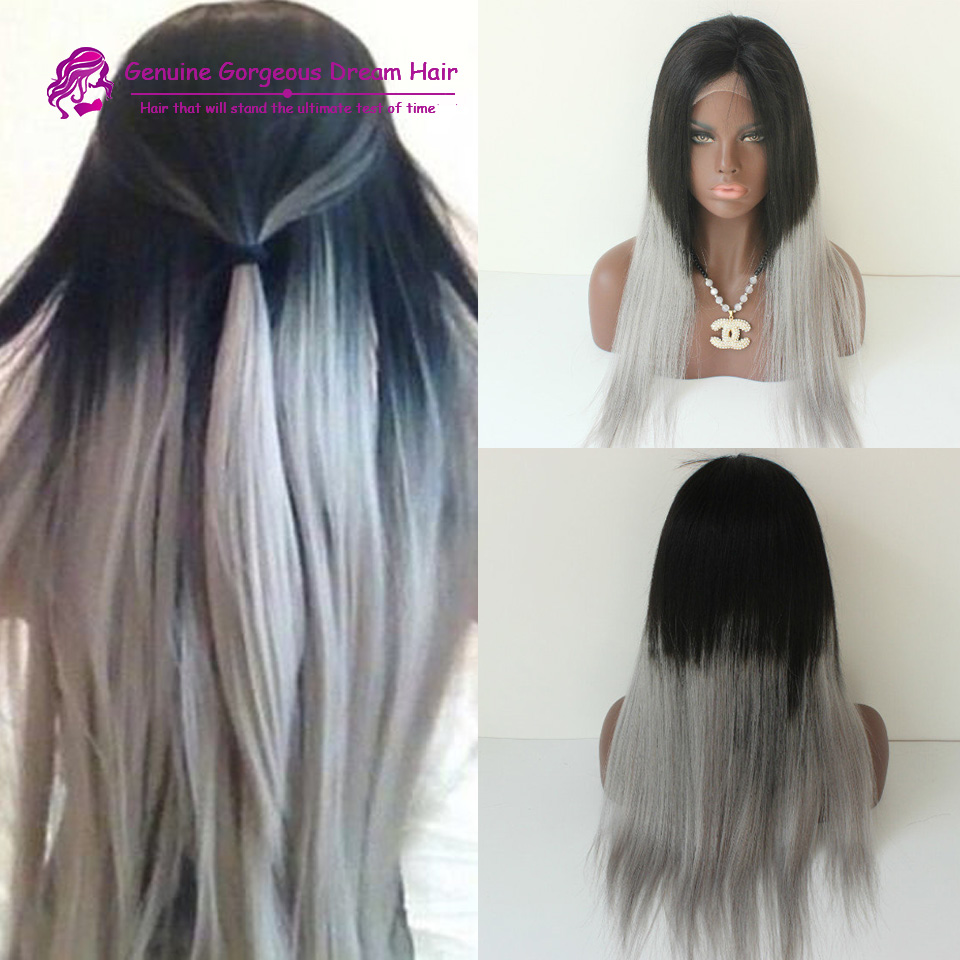 CA162 7A Brazilian hu-man hair straight wig grey ombre full lace wigs grey ombre glueless lace front wig 1b grey hu-man hair wig