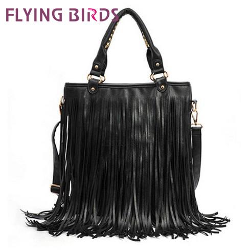 FLYING BIRDS! 2015 Free shipping women pu leather handbags New fashion messenger bags in shoulder bag tassel handbag LS0458(China (Mainland))