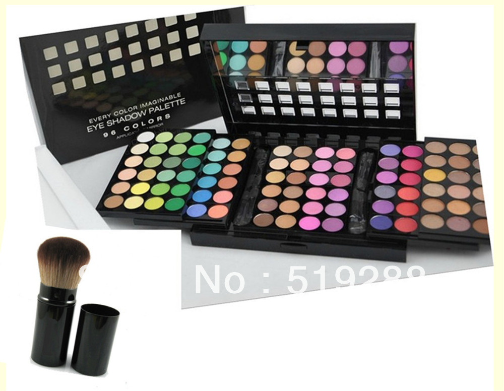 Fashion Hot Sale 3layer 96 Colors makeup eye shadow palette Box +1PC Replace M comestic Brusher Brush Makeup set Free HK Post(China (Mainland))