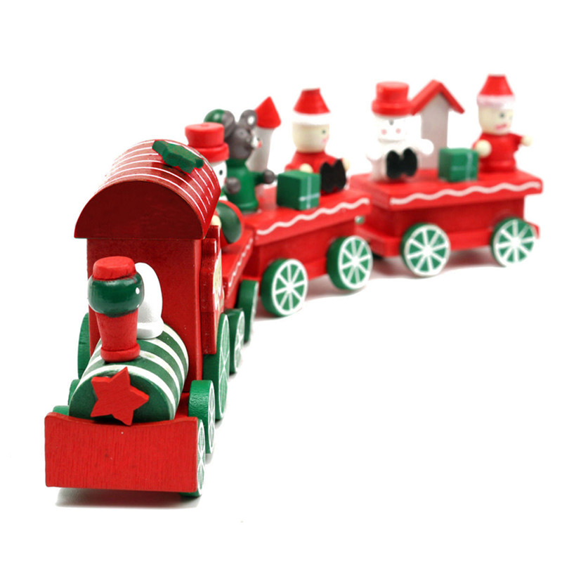 Kid Lovely 4 Piece Little Train Wood Christmas Train Ornament Decoration Decor Gift for Children Birthday Xmas Gift(China (Mainland))