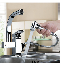 Luxury Pull Out Sprayer Single Handle Hole Kichen Faucet Deck Mounted Chrome Brass Vessel Sink Mixer Tap Dual Spouts(China (Mainland))