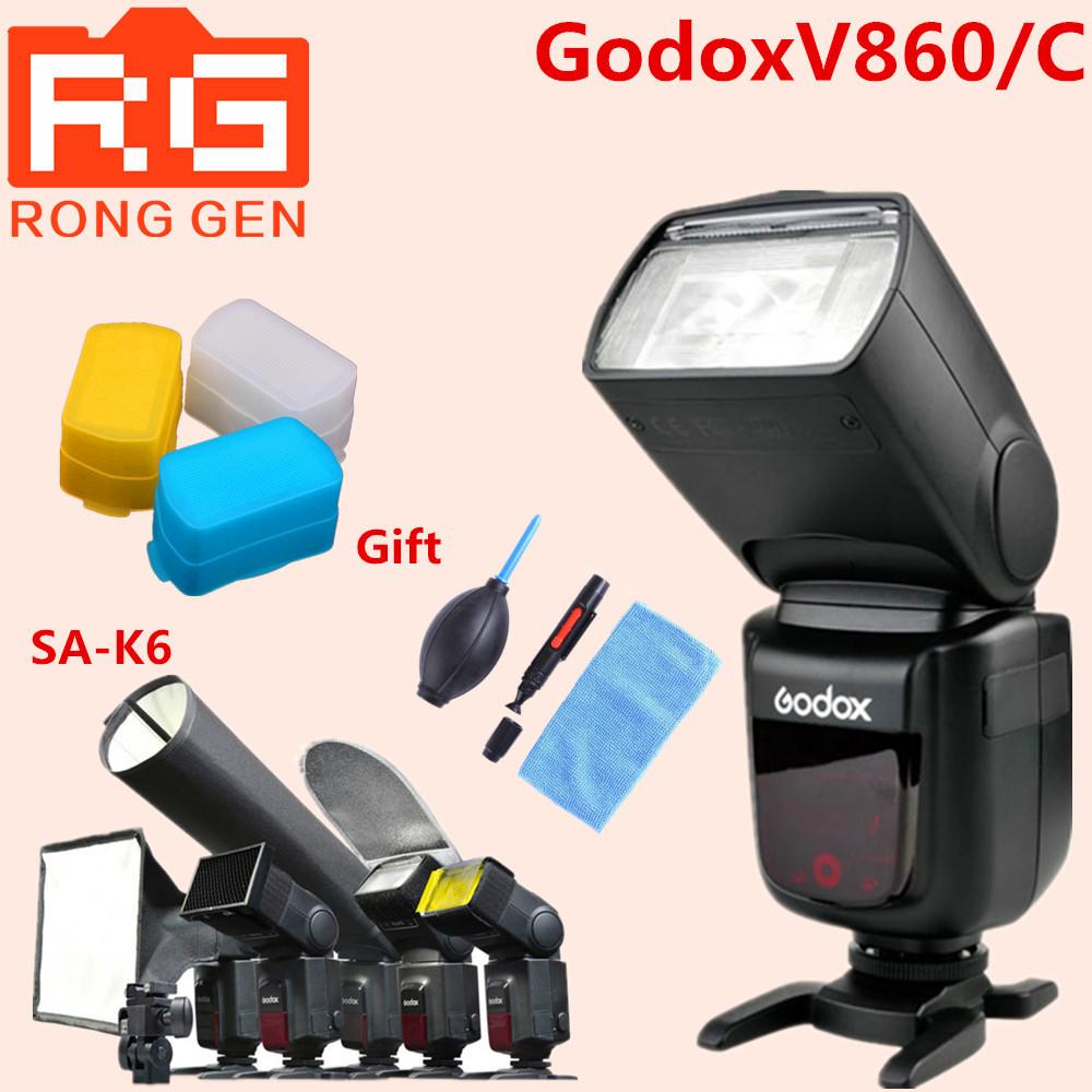 Godox V860C i-TTL HSS 1/8000s Speedilte Flash Light w/ Li-ion Battery for Canon + SA-K6+gift(China (Mainland))