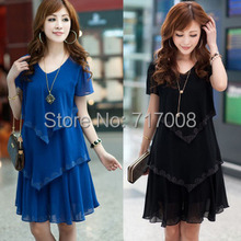 new year dress plus size clothing summer dress chiffon long dress short-sleeve blue ladies dress vestido longo preto 4xl 5xl(China (Mainland))