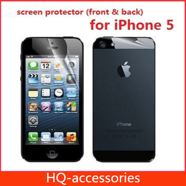 for iphone 5s screen protector clear front+back+retail package free shipping with track number wholesale cellphone accessories(China (Mainland))