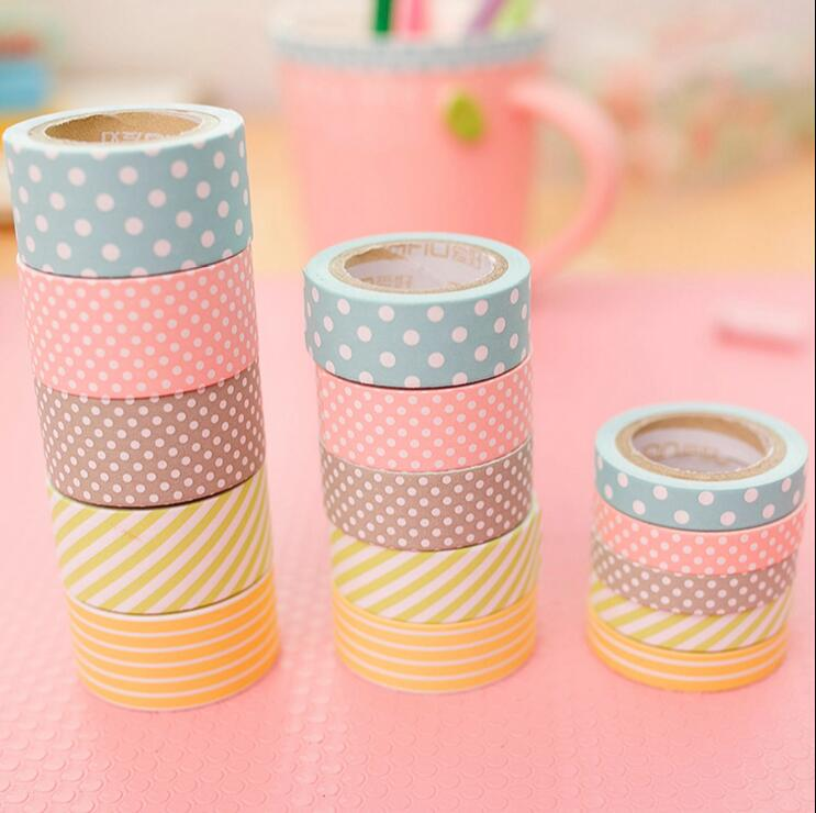 30pcs /lot Decorative adhesive tapes Paper washi tape cute dots DIY masking sticker for scrapbooking stationery school supplies <br><br>Aliexpress