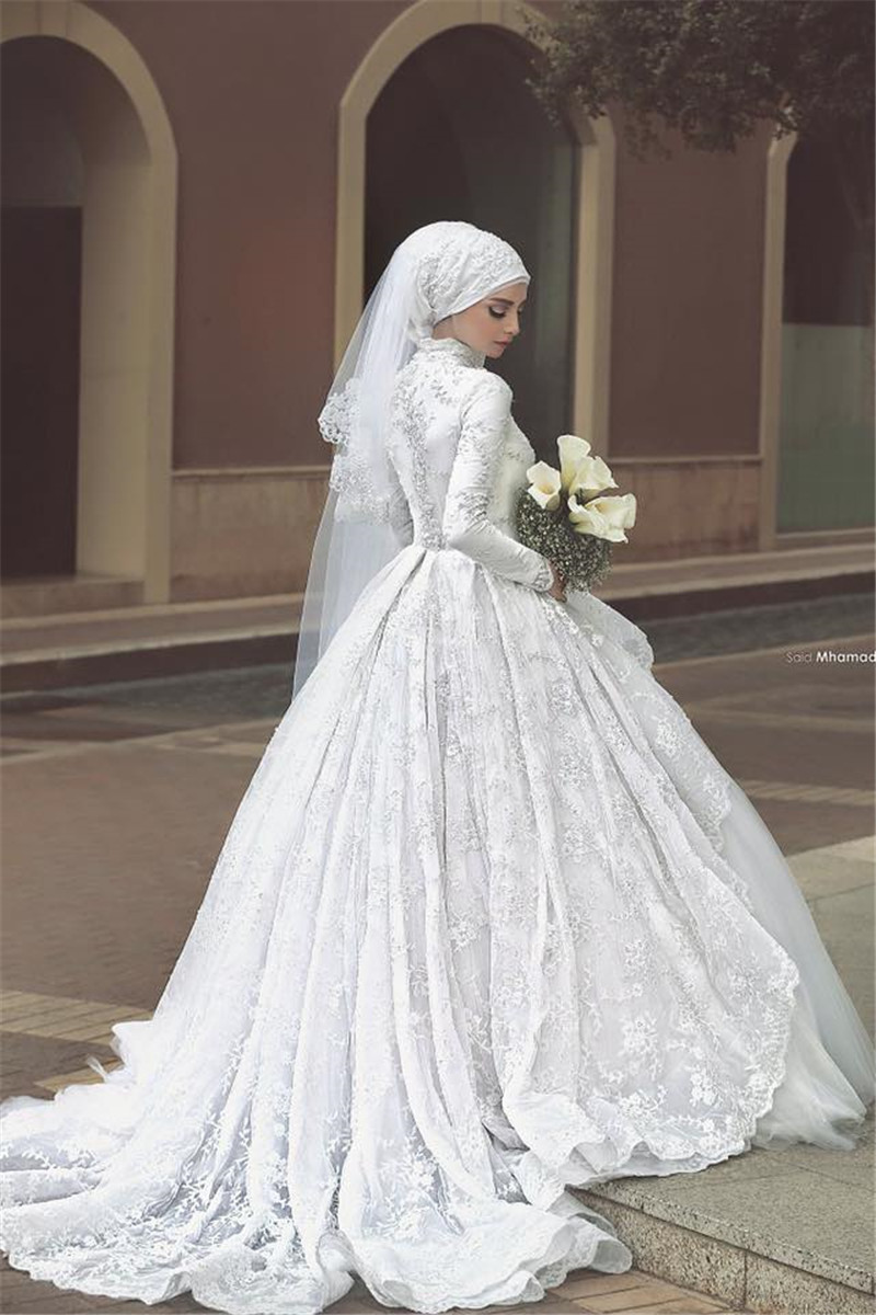 Princess long sleeve muslim wedding dress 2015 ball gown for Beading for wedding dress