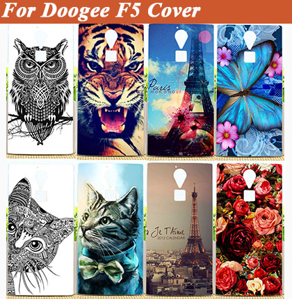 For DOOGEE F5 soft tpu Case Cover,14 patterns painting colored tiger lion owl flowers soft tpu phone case for DOOGEE F5 cover(China (Mainland))