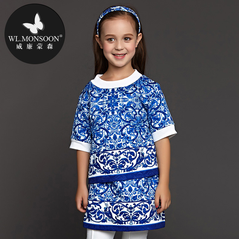 2016 Top Fashion Hot Sale Kids Dresses For Girls Girls Clothes Christmas Dress Monsoon And Porcelain Girl Dress Spring Autumn(China (Mainland))