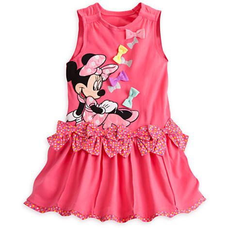 Гаджет  2015 New arrival Girls Dress cartoon Minnie Bow Polka Dot vest short-sleeved dress casual and comfortable 100% cotton baby girls None Детские товары