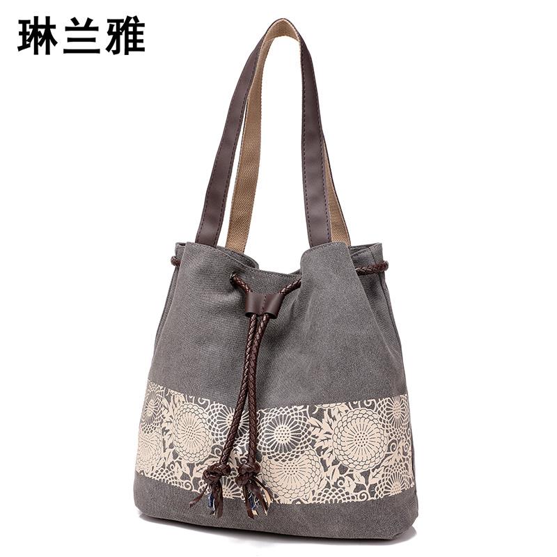 Women Floral Canvas Bucket Casual Shoulder Bag Spanish Beach Bags Women String Shopping Handbags Lace Printing Bag Female Bolso(China (Mainland))