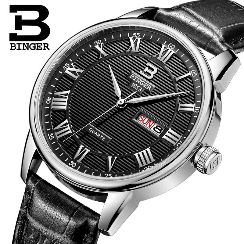 Switzerland watches men luxury brand Wristwatches BINGER ultrathin Quartz watch leather strap Auto Date Waterproof B3037-4<br><br>Aliexpress