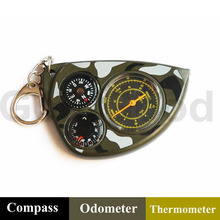 LX-2M Mini Odometer+Thermometer+Compass Great For Hiking Camping Cycling Hunting Survival Keychain Distance Measuring Compass