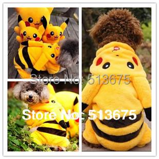 Free Shipping 2015 New fashion cute Pet Pikachu transfiguration loaded dog clothes XS S M L XL Sizes