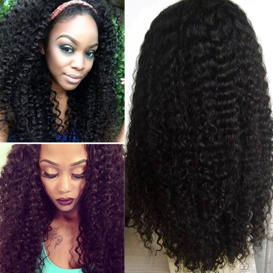 product Free Shipping Brazilian Virgin Kinky Curly Human Hair Lace Front Wig/Glueless Full Lace Wig For Black Women #1b 8-24'' in stock
