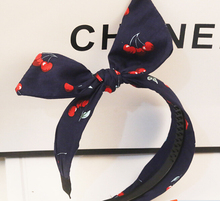 bohemian vintage cherry print  fabric wrapped  big bow headband hairband fashion hair accessories(China (Mainland))
