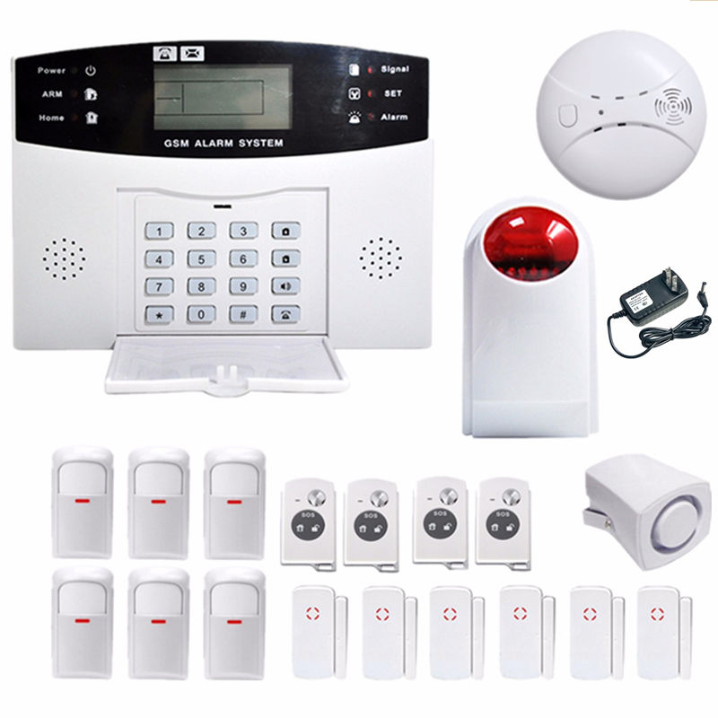 2017 Hot Selling Durable Quality Wireless LCD GSM SMS Home Security Fire Smoke Entry Burglar Alarm Dialer Sensor(China (Mainland))
