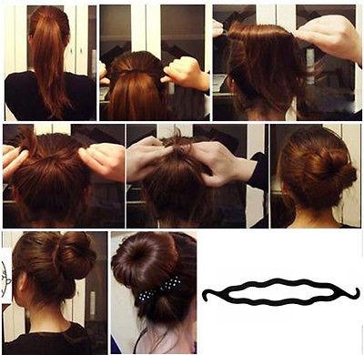 Fashion Women Magic Hair Twist Styling Clip Stick Bun Maker Braid Tool Black(China (Mainland))