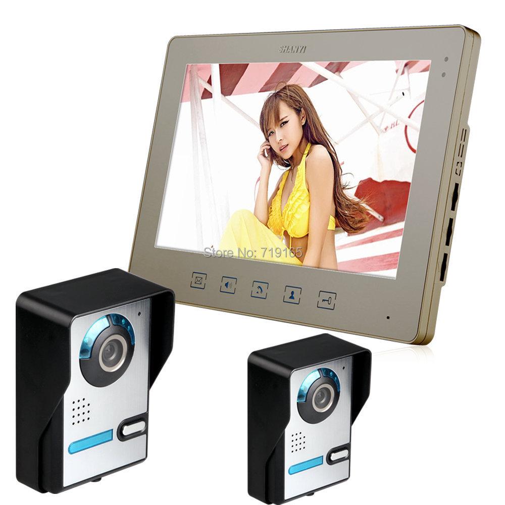 Гаджет  DHL Free 10.1 Inch Video Door Phone Doorbell Intercom Kit 2-camera 1-monitor Night Vision  None Безопасность и защита