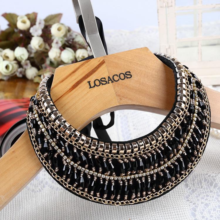 women fashion black beads knitted cloth gold chain ribbon fake collar chocker necklace statement necklace(China (Mainland))