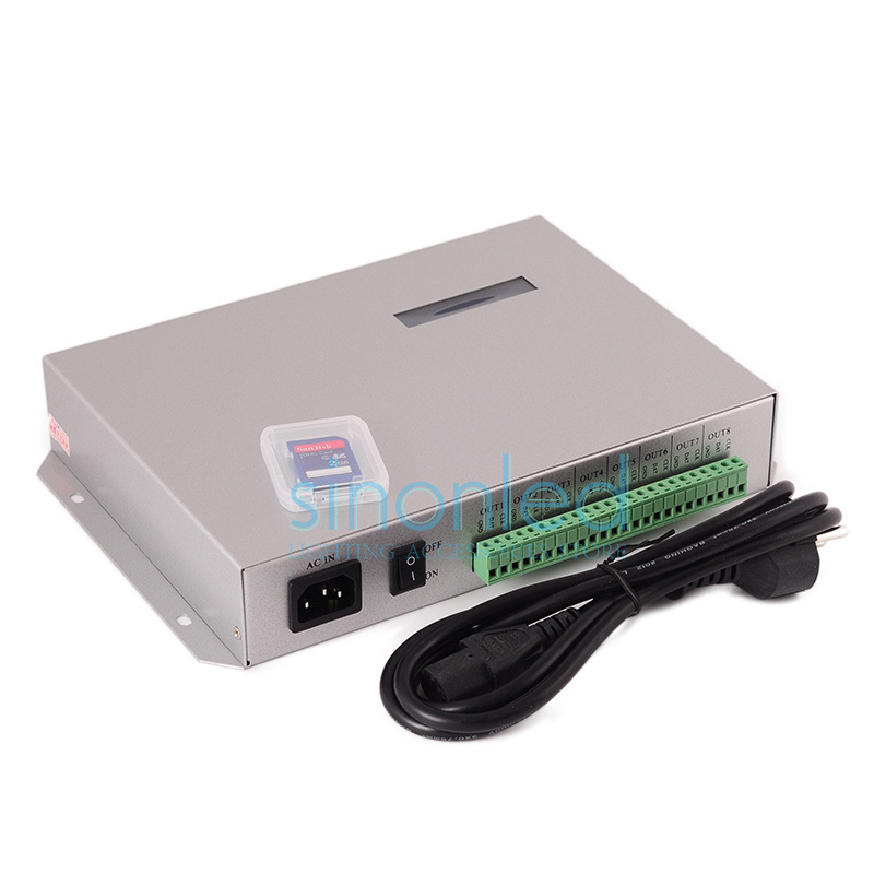 T-300K T300K SD Card online VIA PC RGB Full color led pixel module controller 8 ports 8192 pixels ws2811 ws2801(China (Mainland))