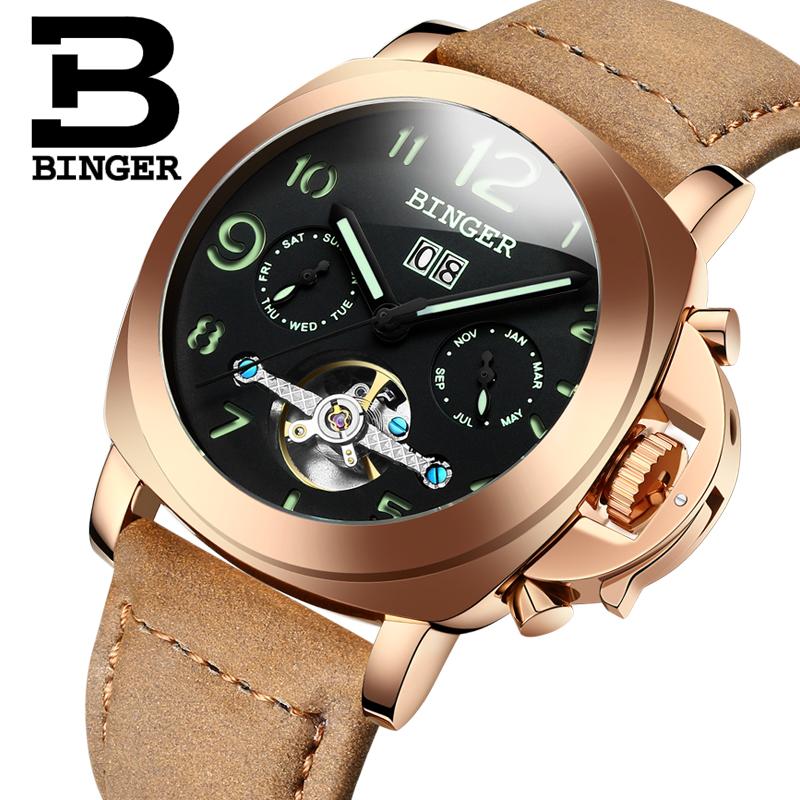 Genuine Swiss BINGER Brand Men automatic mechanical luminous calendar waterproof sports Chronograph military gold watch big dial(China (Mainland))