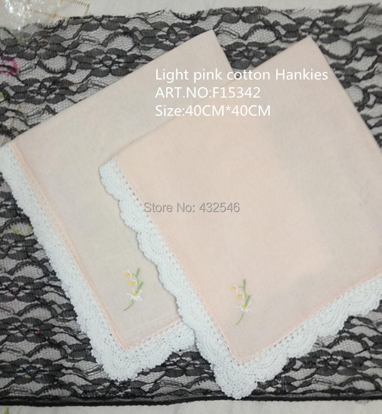 Home Textile European Style1 Light pink cotton White crochet lace edges Handkerchief 40CM*40CM Best Embroidery Bride - BAIDAILI NAPKINS FOR SPECIAL OCCASIONS store