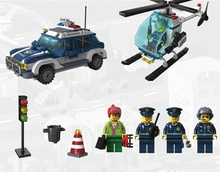 Enlighten Air Track Police Car Helicopters Fugitive City Bricks Toys Minifigures Building Block Sets Toys Compatible With Legoe
