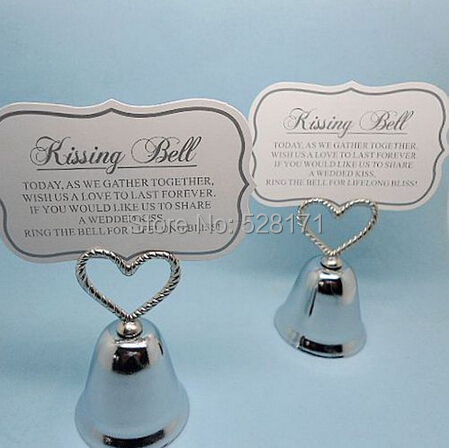 Free Shipping Wholesale 20pcs/lot Charming Silver Plated Bell Place Card Holder Wedding Party Favors(China (Mainland))