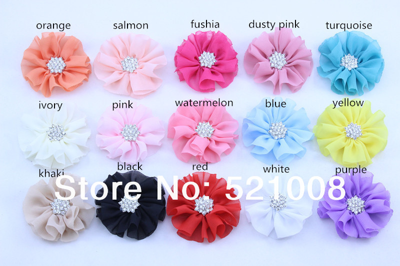 Promotion Ballerina Chiffon Flower with Rhinestone Button DIY Handmade Puff Flower for Headband Apparel Accessories 30pcs/lot(China (Mainland))