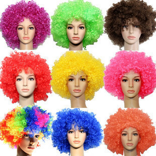 Halloween Party Afro Wigs Colorful Christmas Cosplay Hairs Clown Funny Wig New Brazil football fans wigs(China (Mainland))