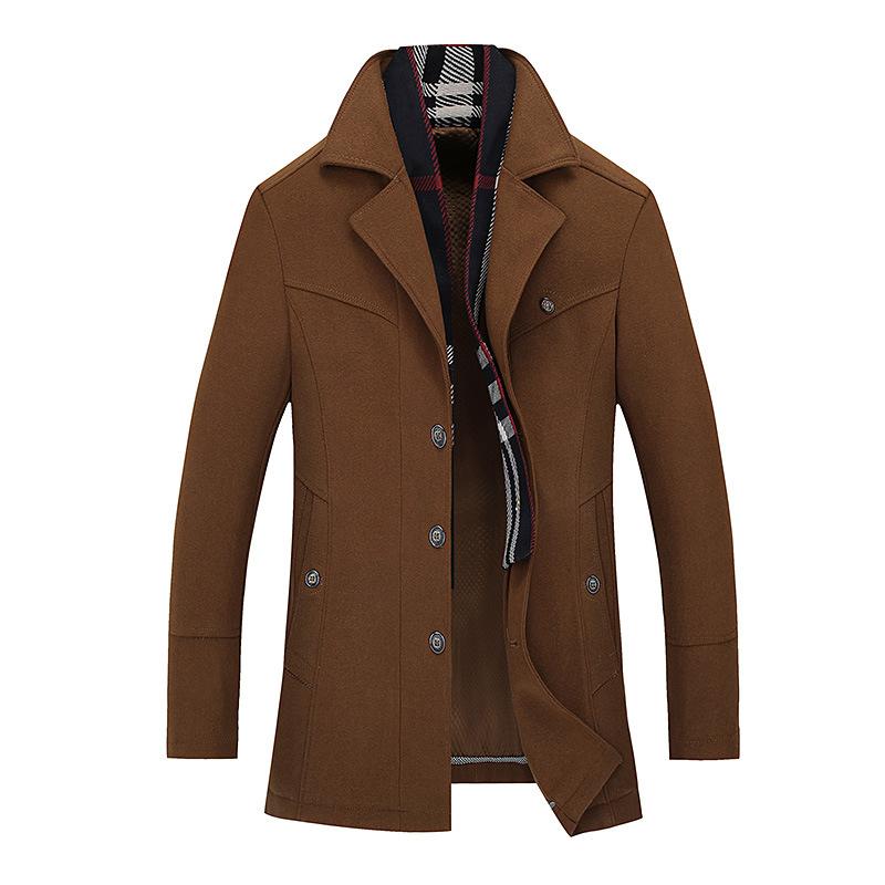 2016 Newest Men Trench Men Wool Jackets Turn-Collar Fashion Casual Trench Coat Men Wool Jacket Plus Size XXXL(China (Mainland))