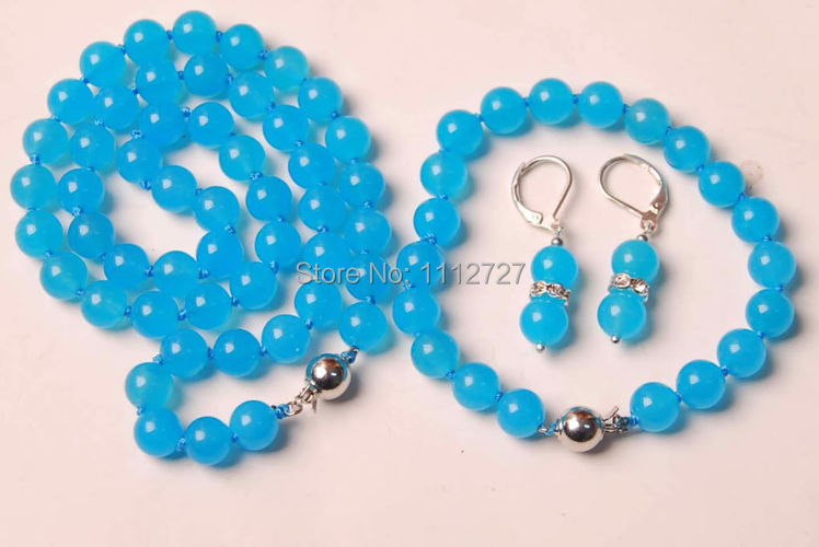 10MM Blue Chalcedony Necklace +Bracelet +Earrng Jewelry Sets Natural Beads Stone Wholesale Price(China (Mainland))