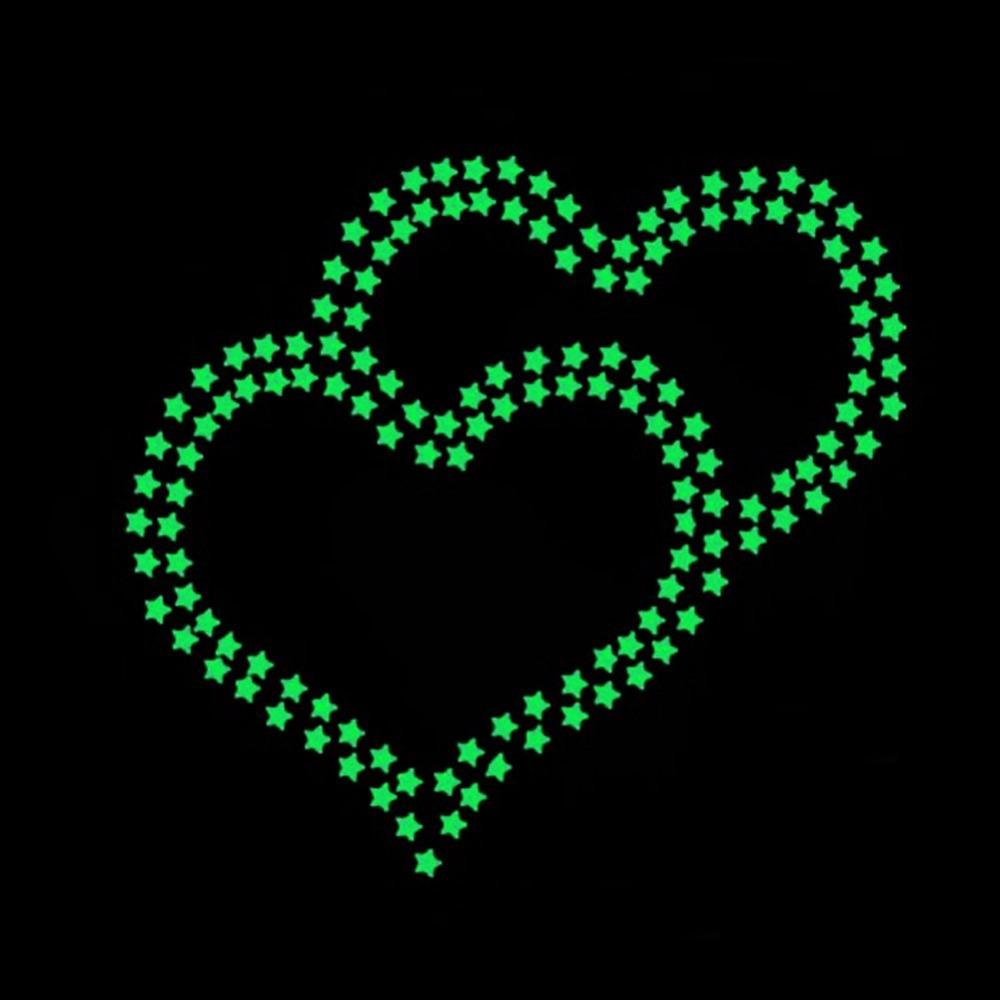 100Pcs etoiles phosphorescente lumineuse la nuit pour chambre d'enfant deco 3D For Plastic glow stars(China (Mainland))