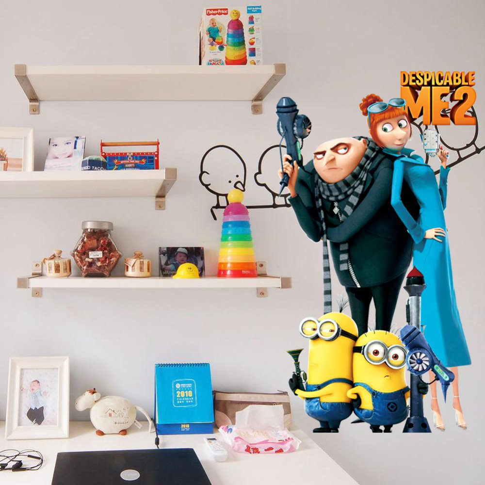Wholeslae 5pcs/lot 2014 New Design Despicable Me 2 Minion Movie Decal Removable Wall Sticker Home Decor Art Kids /boy's room(China (Mainland))