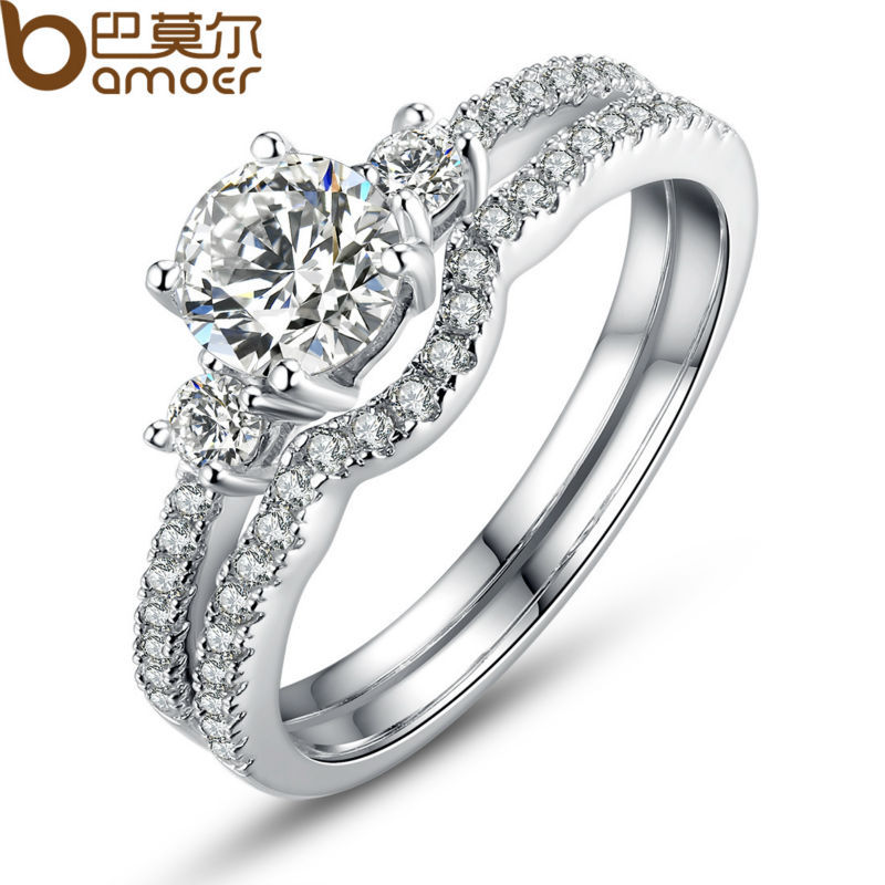 BAMOER White Gold Plated Double Finger Ring for Lady with Paved Micro AAA Cubic Zircon Christmas Gift Jewelry YIR026(China (Mainland))