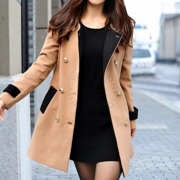 Women's Vintage Wool Blend Thick Trench Black Long Sleeve Double Breasted Winter Slim Casual Pea Coat Ceap Oversized Coat nz110(China (Mainland))