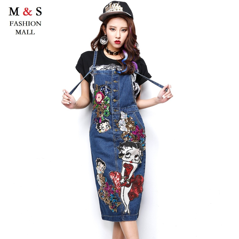 Melinda Style 2016 new women summer jean dress sequined carton pattern fashion jean vestidos free shipping