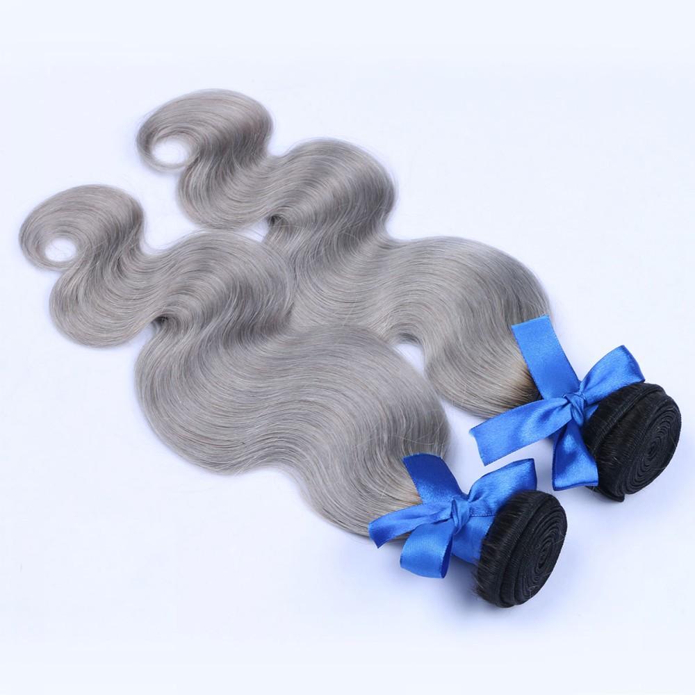 Unprocessed Brazilian Body Wave Virgin Gray Hair Extension 2Pcs Ombre Brazilian Virgin 1b Grey Hair Human Hair Weave Bundles